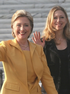 Hillary Clinton and Chelsea Clinton attend a Memorial Day Ceremony in San Juan, Puerto Rico  on May 26, 2008