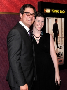 Rich Sommer and Virginia Donohoe arrive at the season 4 premiere of AMC&#8217;s &#8220;Mad Men&#8221; in Hollywood on July 20, 2010