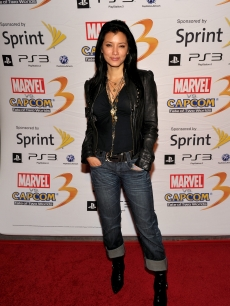 """The Scorpion King"" Sorceress Kelly Hu poses for the cameras at the Marvel Vs. Capcom party during Comic-Con International at the Hard Rock Hotel in San Diego, Calif., on July 22, 2010"