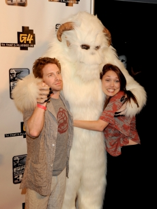 Seth Green and Clare Grant pose with a furry creature at the &#8220;GPhoria Strikes Back&#8221; party hosted by G4 and Lucasfilm during Comic-Con International at the Hard Rock Hotel in San Diego, Calif., on July 22, 2010