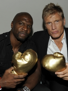 """The Expendables"" stars Terry Crews and Dolph Lundgren pose for pictures at the IGN Celebrates ""The Expendables"" Comic-Con party held at the Float at the Hard Rock in San Diego, Calif., on July 22, 2010"