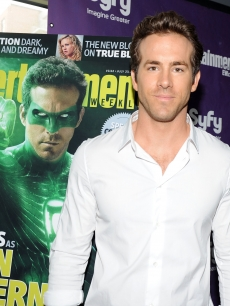 """Green Lantern"" star Ryan Reynolds poses during Comic-Con 2010 at San Diego Convention Center on July 24, 2010 in San Diego, Calif."