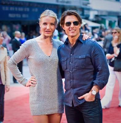 "Cameron Diaz and Tom Cruise attend the UK premiere of ""Knight and Day"" at the Odeon, Leicester Square, London, July 22, 2010"
