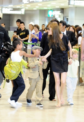 Angelina Jolie with her children Maddox, Pax, Zahara, Shiloh are seen at Narita International Airport in Narita, Japan on July 26, 2010