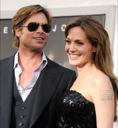 "Brad Pitt and Angelina Jolie arrive at the premiere of ""Salt"" in Hollywood, California on July 19, 2010"