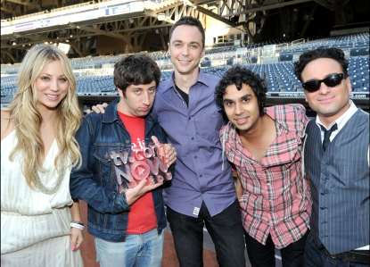 """The Big Bang Theory"" stars Kaley Cuoco, Simon Helberg, Jim Parsons, Kunal Nayyar and Johnny Galecki attend TV.com NOW Awards during Comic-Con 2010 at PETCO Park on July 23, 2010 in San Diego, Calif."