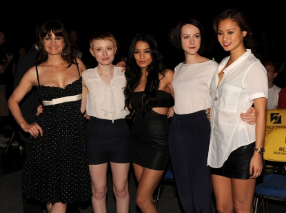 "Carla Gugino, Emily Browning, Vanessa Hudgens, Jena Malone and Jamie Chung pose at the ""Sucker Punch"" panel discussion during Comic-Con 2010 at the San Diego Convention Center on July 24, 2010 in San Diego, Calif."
