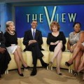 "President Barack Obama sits alongside Whoopi Goldberg, Barbara Walters, Joy Behar, Sherri Shepherd and Elisabeth Hasselbeck as he tapes an appearance for ""The View"" in New York City on July 28, 2010"