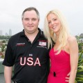 Tareq Salahi and Michaele Salahi pose at a press conference with the USA Polo Team in Melbourne, Australia on February 4, 2010