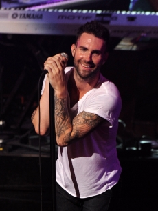 Adam Levine of Maroon 5 rocks onstage at The Beacon Theatre in New York City on July 27, 2010