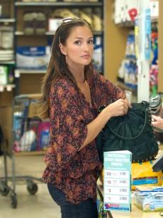 Minka Kelly is seen out shopping while carrying the Treesje Envy bag in Forest, in Los Angeles, Calif., on July 19, 2010