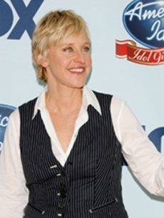 "Ellen DeGeneres poses in the press room during the ""American Idol Gives Back"" event, held at the Walt Disney Concert Hall, Los Angeles, April 25, 2007"