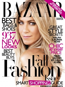 Jennifer Aniston on the cover of Harper's Bazaar's September issue