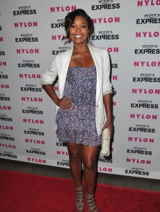 Gabrielle Union smiles at the Nylon and Express Denim issue release party at The London West Hollywood, LA, August 10, 2010