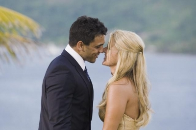 "Roberto and Ali Fedotwosky in the final rose ceremony on ""The Bachelorette"""