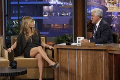 "Jennifer Aniston visits Jay Leno on ""The Tonight Show,"" July 30, 2010"