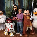 Star Wars creator and filmmaker George Lucas meets a group of Star Wars-inspired Disney characters at Disney's Hollywood Studios theme park in Lake Buena Vista, Fla., on August 14
