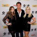 David Hasselhoff and his daughters Taylor Ann Hasselhoff and Hailey Hasselhoff attend The Dome 55 on August 27, 2010 in Hannover, Germany