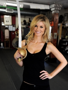Model Marisa Miller wields a sword at Swordplay Fencing Studio in Burbank, California on August 11, 2010