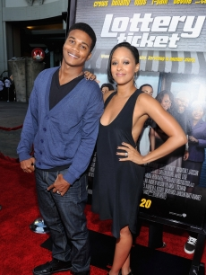 The Game's Tia Mowry and husband Cory Hardrict pose together at the premiere of Lottery Ticket at Grauman's Chinese Theater in Hollywood, Calif. on August 12, 2010