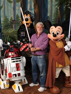 Star Wars creator and filmmaker George Lucas meets a group of Star Wars-inspired Disney characters at Disney&#8217;s Hollywood Studios theme park in Lake Buena Vista, Fla., on August 14