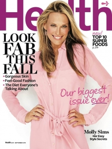 Molly Sims on the cover of Health Magazine&#8217;s September 2010 issue