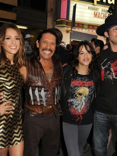 Jessica Alba, Danny Trejo, Michelle Rodriguez, and director Robert Rodriguez arrive at 20th Century Fox&#8217;s screening of &#8216;Machete&#8217; at the Orpheum Theater on August 25, 2010 in Los Angeles, California