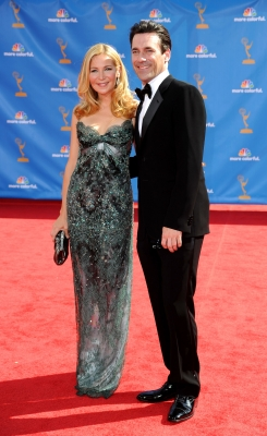 Jennifer Westfeldt and Jon Hamm arrive at the 62nd Annual Primetime Emmy Awards held at the Nokia Theatre L.A. Live in Los Angeles on August 29, 2010