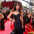 """Glee's"" Lea Michele shows off her navy gown at the Emmys, LA, Aug. 29, 2010"