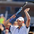 Andy Roddick celebrates after match point against Stephane Robert of France during the U.S. Open on August 30, 2010