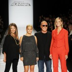"Nina Garcia, Jessica Simpson, Michael Kors and Heidi Klum pose on the runway at the ""Project Runway"" Spring 2011 fashion show during Mercedes-Benz Fashion Week at The Theater at Lincoln Center in New York City on September 9, 2010"