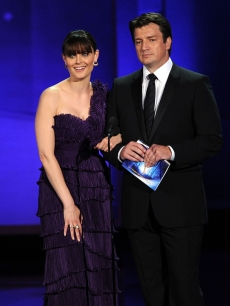 Emily Deschanel and Nathan Fillion speak onstage at the 62nd Annual Primetime Emmy Awards held at the Nokia Theatre L.A. Live on August 29, 2010