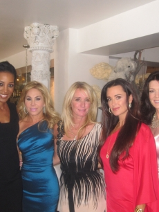 "Access Hollywood's Shaun Robinson (second from left) with ""The Real Housewives of Beverly Hills"" stars Camille Grammer, Adrienne Maloof, Kim Richards, Kyle Richards, Lisa Vanderpump and Taylor Armstrong, Los Angeles, Aug. 30, 2010"