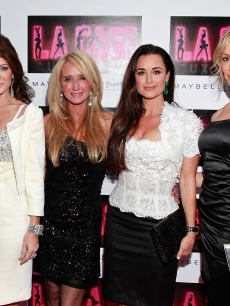 """The Real Housewives of Beverly Hills"" Lisa Vanderpump, Kim Richards, Kyle Richards and Taylor Armstrong attend the opening of ""La Cage Aux Folles"" on Broadway at the Longacre Theatre in New York City  on April 18, 2010"