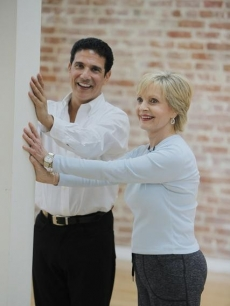 "Florence Henderson and Corky Ballas share a laugh as they get ready for ""Dancing with the Stars,"" Los Angeles, Sept. 2010"