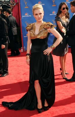 Anna Paquin arrives at the 62nd Annual Primetime Emmy Awards held at the Nokia Theatre L.A. Live in Los Angeles on August 29, 2010