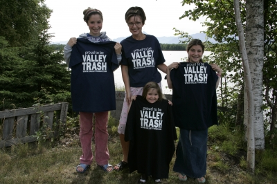 "Sarah Palin and daughters Bristol, Piper and Willow model ""Proud to be Valley Trash"" T-shirts as the result of State Senator Ben Stevens (son of Ted Stevens) comments that people living in the Mat-Su Borough are ""just Valley trash,"" Wasilla, Alaska, July 21, 2004"