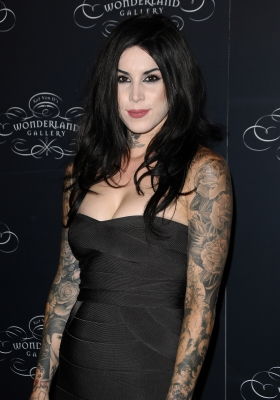 Kat Von D steps at the opening of Wonderland Gallery in West Hollywood on September 2, 2010