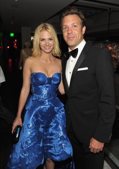 January Jones and Jason Sudeikis attend the AMC After Party for the 62nd Annual EMMY Awards at Soho House in West Hollywood on August 29, 2010