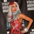 Lady Gaga strikes a pose in her meat dress at the 2010 MTV Video Music Awards