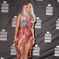 Lady Gaga poses in her all-meat dress at the 2010 MTV Video Music Awards