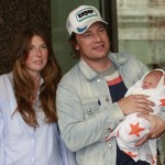 Jamie Oliver, Jools Oliver and the couple's newborn baby son, Buddy, leave Portland Hospital in London on September 16, 2010