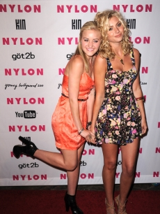 AJ and Aly Michalka arrive at the NYLON & YouTube Young Hollywood Party at the Roosevelt Hotel on May 12, 2010 in Hollywood, California