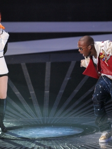 Hayley Williams of Paramore and B.o.B. Lady Gaga perform at the 2010 MTV Video Music Awards at NOKIA Theatre L.A. LIVE in Los Angeles on September 12, 2010