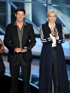 Amber Riley, Cory Monteith, Jane Lynch and Chris Colfer present an award during the 2010 MTV Video Music Awards at NOKIA Theatre L.A. LIVE on September 12, 2010