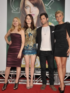 Patricia Clarkson, Emma Stone, Penn Badgley and Alyson Michalka arrive at the 'Easy A' Los Angeles premiere at Grauman's Chinese Theatre on September 13, 2010 in Hollywood, California.