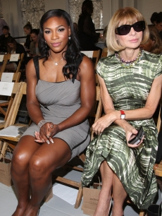 Serena Williams and Vogue magazine editor-in-chief Anna Wintour attend the Rodarte Spring 2011 fashion show during Mercedes-Benz Fashion Week at Dia:Chelsea, NYC, September 14, 2010