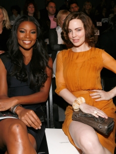 Gabrielle Union and Melissa George attend the J. Mendel Spring 2011 fashion show during Mercedes-Benz Fashion Week at the The Studio at Lincoln Center in new York City on September 16, 2010 