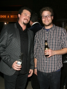 "Danny McBride and Seth Rogen attend the 2nd season premiere of HBO's ""East Bound & Down"" at the Paramount Theater in Hollywood on September 16, 2010"