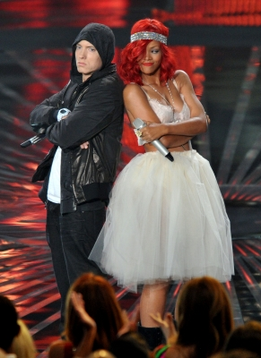Eminem and Rihanna on stage at the MTV VMAs, held at the Nokia Live, Los Angeles, Sept. 12, 2010
